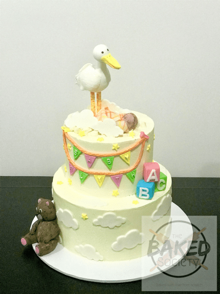 baby-show-cake-gender-neutral-stork-bunting-teddy-bear