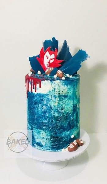 afl surfersparadise demons cake blue red drip chocolate