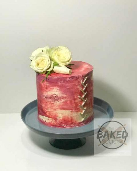 gold bar cake flowers watercolour pinks
