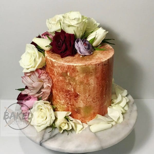 mettalic cake copper gold painted flowers roses