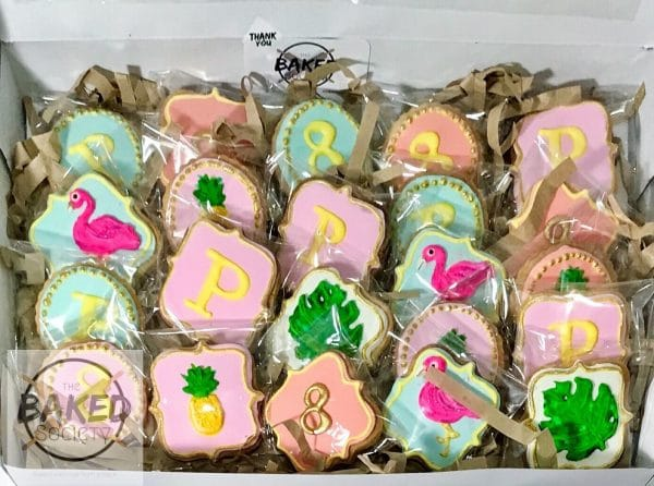 flamingo palm pineapple decorated sugar cookies