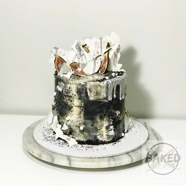 Black and white silver drip shard cake dehydrated figs