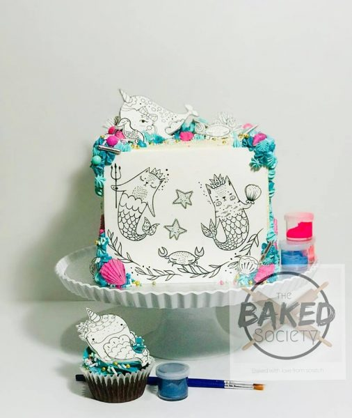 paint your own cake party cat mermaids