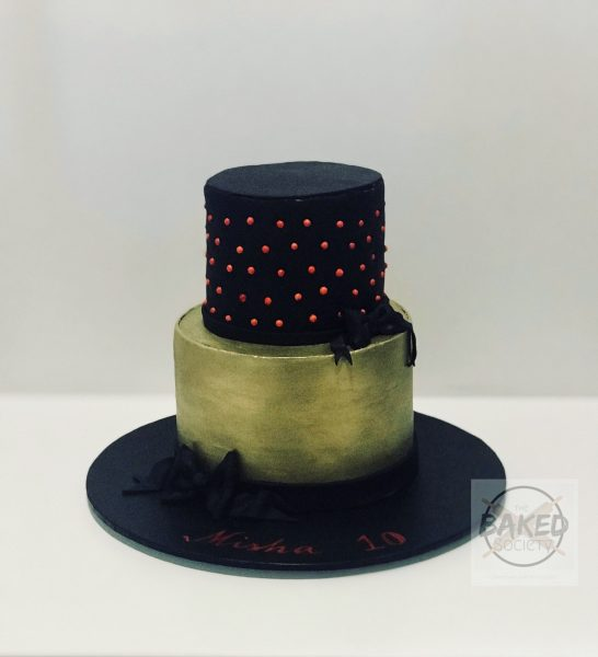fondant black painted gold red dreagees