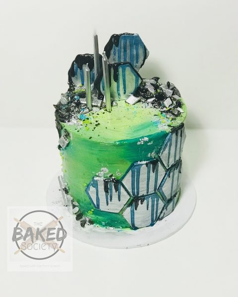 geoetric green blue silver cake
