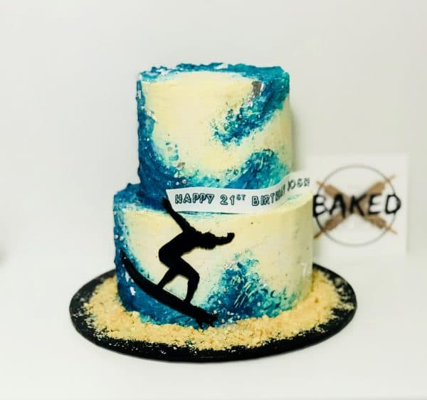 surf cake painted buttercream