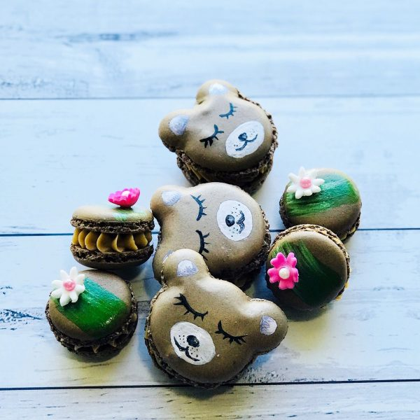 teddy bear shaped painted macarons