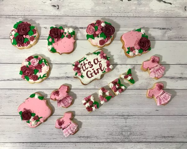 its a girl baby shower royal iced cookies