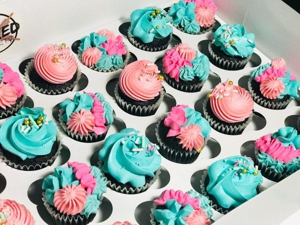 pastel pink blue mini cupcakes swirls
