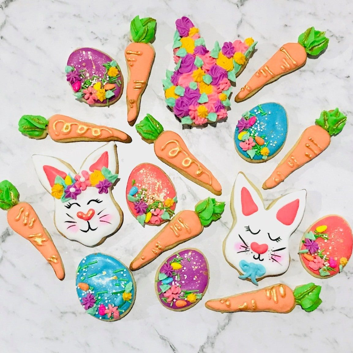 easter royal icing cookies bunnies