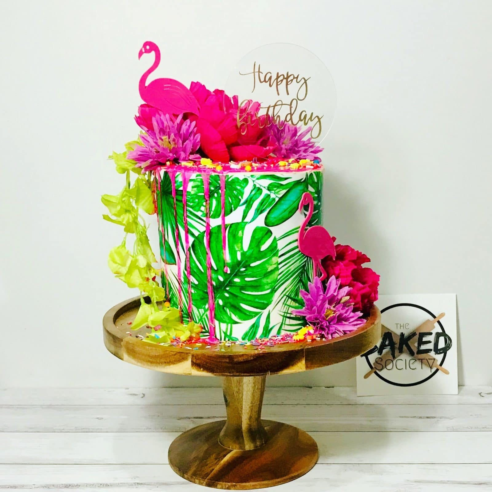tropical palm bright neon drip cake flamingo